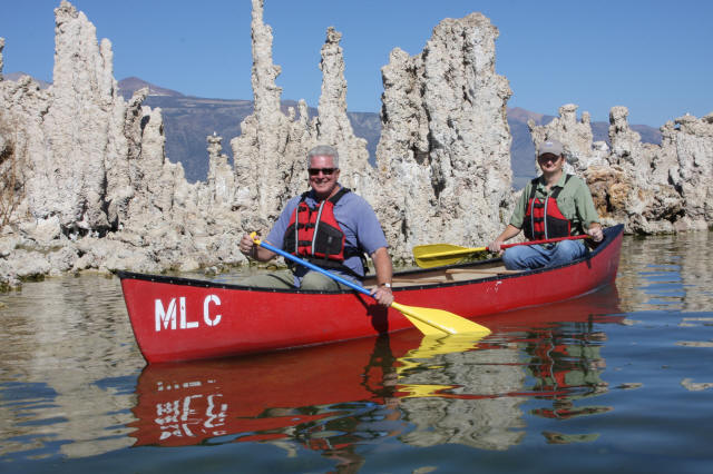 Huell Howser and Committee Executive Director Geoff McQuilkin canoeing at South Tufa