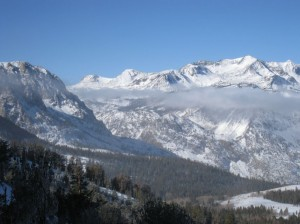 Peaks above Rush Creek and the June Lake Loop just after New Year's. Photo by Arya Degenhardt.