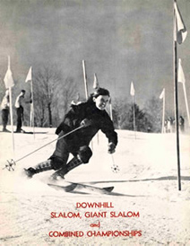 "Black and white photograph of Andrea Mead Alwrence skiing with the text ""Downhill Slalom, Giant Slalom, and Combined Championships""."