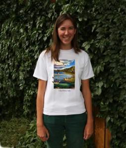 """Logan models her """"Life at Mono Lake"""" t-shirt."""