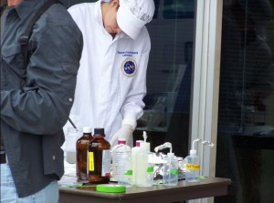 Sample containers are disinfected and cleaned to avoid contamination. Photo by Greg Reis.
