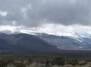 Snow on the Mono Craters during a rainy week in early October. Photo by Greg Reis.