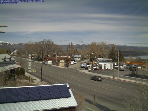 The new and improved view from the Lee Vining WebCam, looking north from the roof of the Mono Lake Committee Information Center and Bookstore.