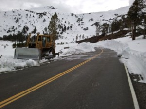 The end of the plowed road at the Tioga Lake Reservoir Dam. May 7, 2011 photo by Greg Reis.