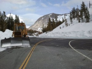 The Saddlebag Lake Road intersection on May 7th. Photo by Greg Reis.