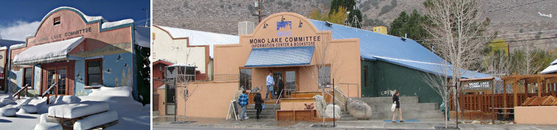 A set of two images of the Mono Lake Committee storefront, one from 2008 under lots of snow, and another newly renovated from 2012 with the same iconic old-western-style facade.