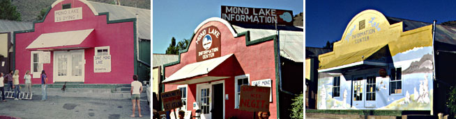 A set of three images of the storefront of the Mono Lake Committee in the late 70s, early 80s, and 90s, with different paint colors, signs, and murals, but always the same iconic old-western-style facade.