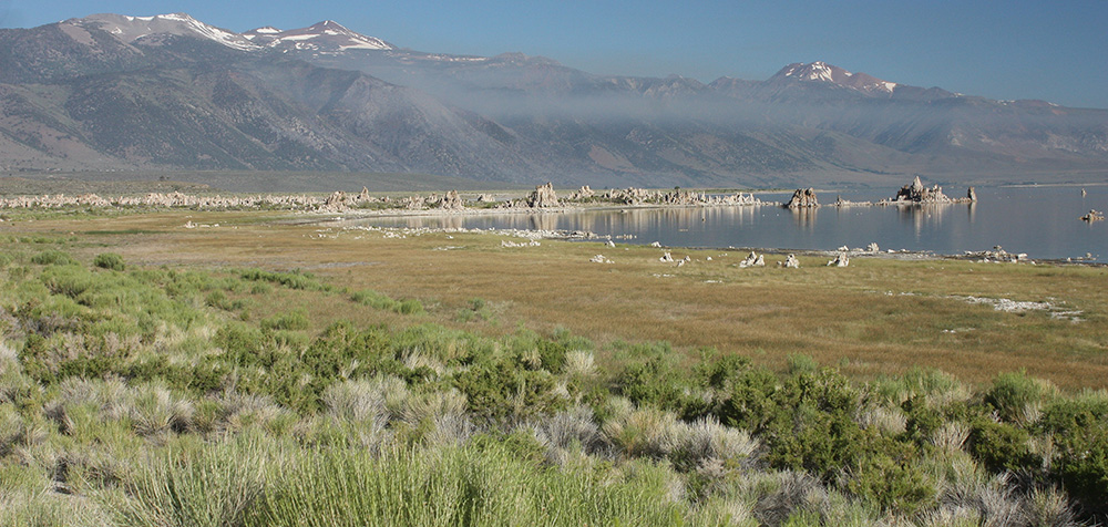 Smoke from the Marina Fire was visible at South Tufa yesterday morning. There is much less smoke today. Photo by Erv Nichols.