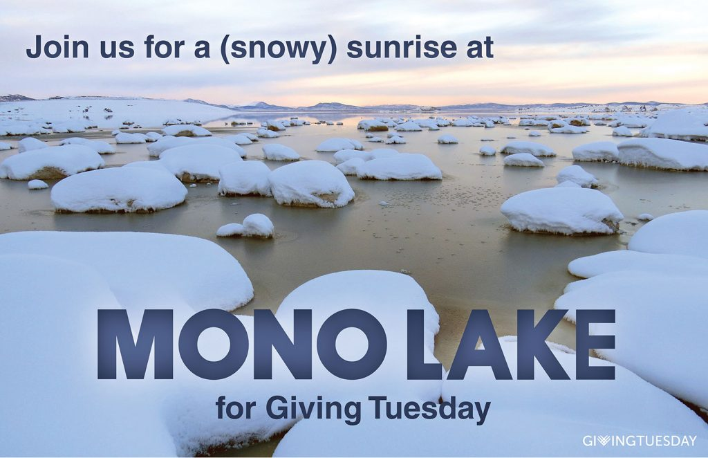 Join us for a snowy sunrise at Mono Lake for Giving Tuesday