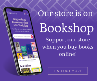 An iphone shows the Bookstore app against a purple backdrop, and white text reads: Our store is on Bookshop, support our store when you buy books online!
