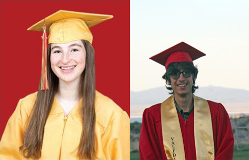 Two graduation portraits side by side. On the left, A smiling girl wearing a yellow graduation cap and gown against a red background, on the right, a boy in red graduation cap and gown with a gold Valedictorian neckline.