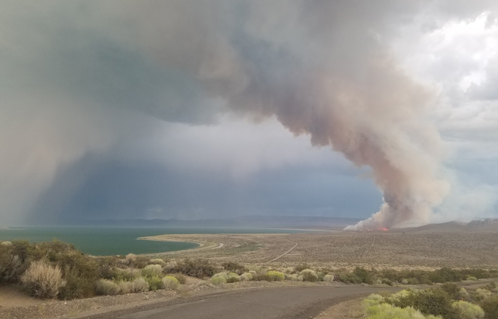 The curved coastline of Mono Lake is shown with a large tower of light gray smoke rising from the far side. Green sagebrush lines the road in the foreground.