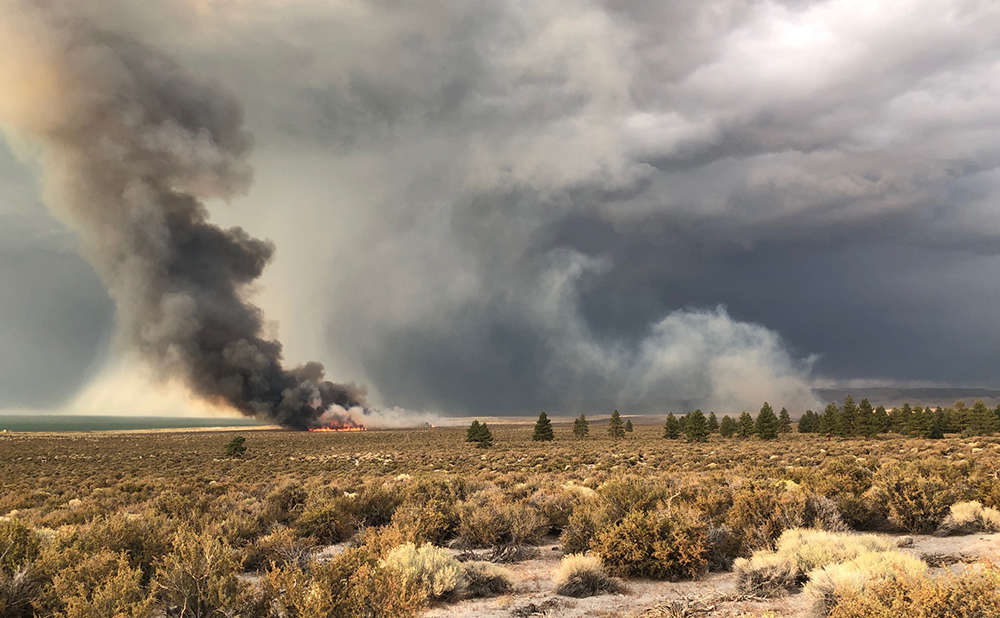 A dark gray plume of smoke rises from an orange glowing patch of the Mono Lake shore. Clouds and smoke fill the air above golden sagebrush and evergreens.