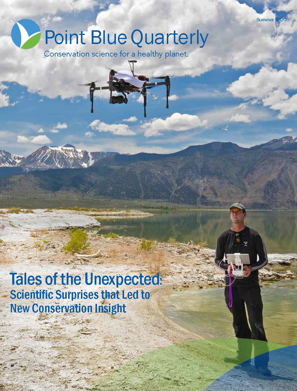 A poster for Blue Point Quarterly shows a drone flying above a man with the controls in his hands. He is standing on the shore of Mono Lake, and the green water is still, with the Sierra Nevadas in the background.