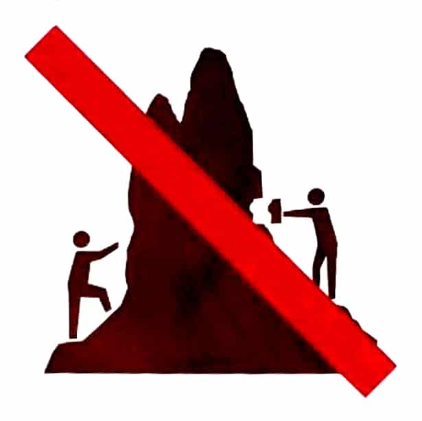Symbol of a red slash to cross out an image people climbing on and collecting tufa rock.