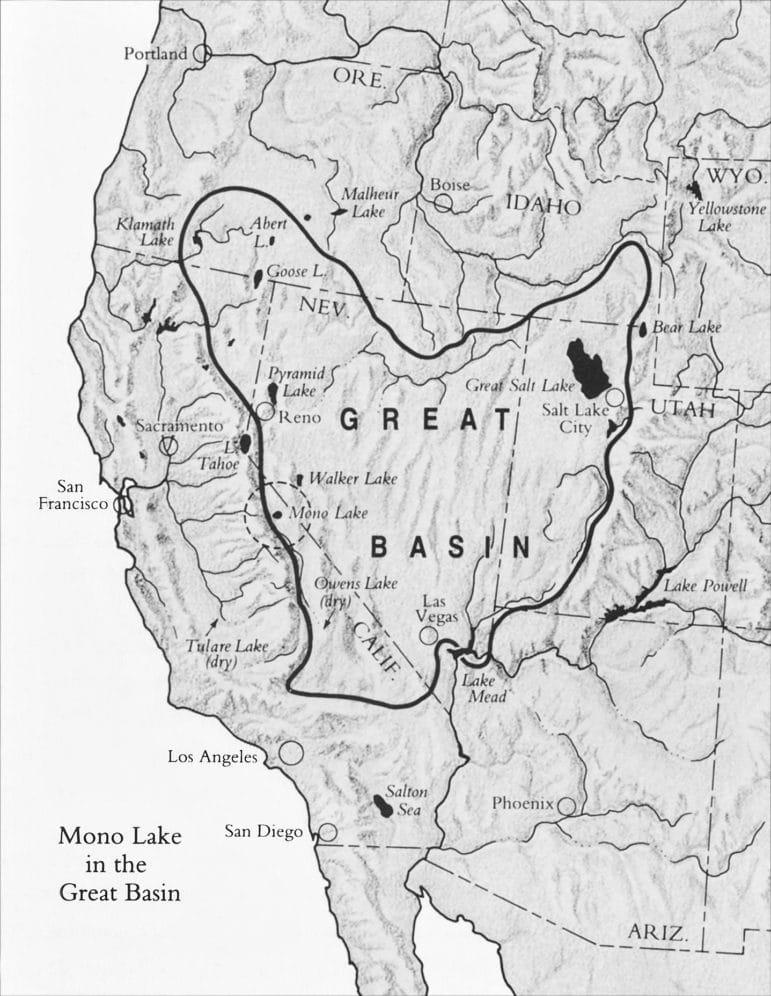 Black and white map of the Great Basin geological province over parts of California, Nevada, Utah, Oregon, Idaho, and Arizona.