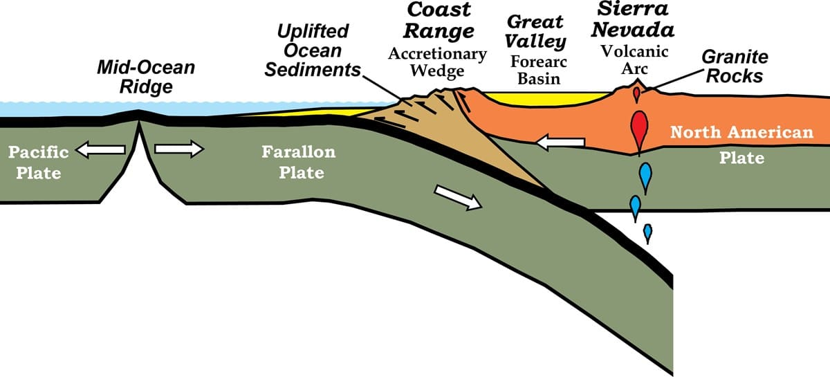 A schematic cross-section illustration of the North American Plate boundary with the Farralon Plate subducting beneath, with the Mid-Ocean Ridge, uplifted ocean sediments, the Coast Range, Great Valley, and Sierra Nevada depicted.