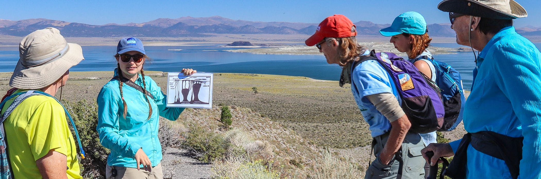 Four people gather around a tour guide holding a geology diagram with bright blue Mono Lake in the background.