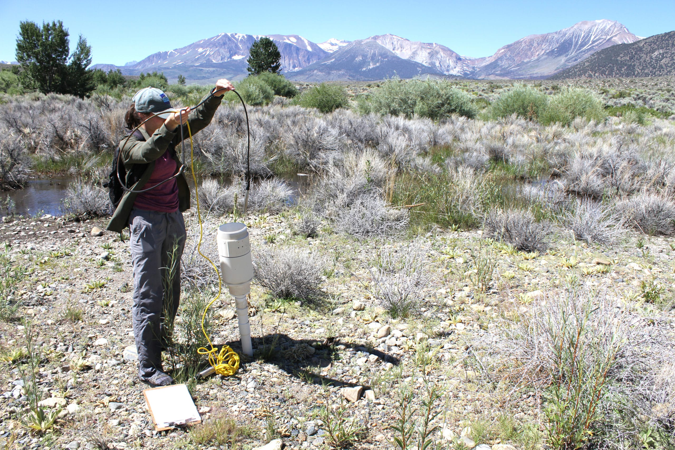 Person doing stream monitoring by inserting a long cord into a white plastic pipe that comes up out of the ground in a rocky patch of ground near a stream with green willows and pine trees in the background and tall snow-capped mountains in the distance.
