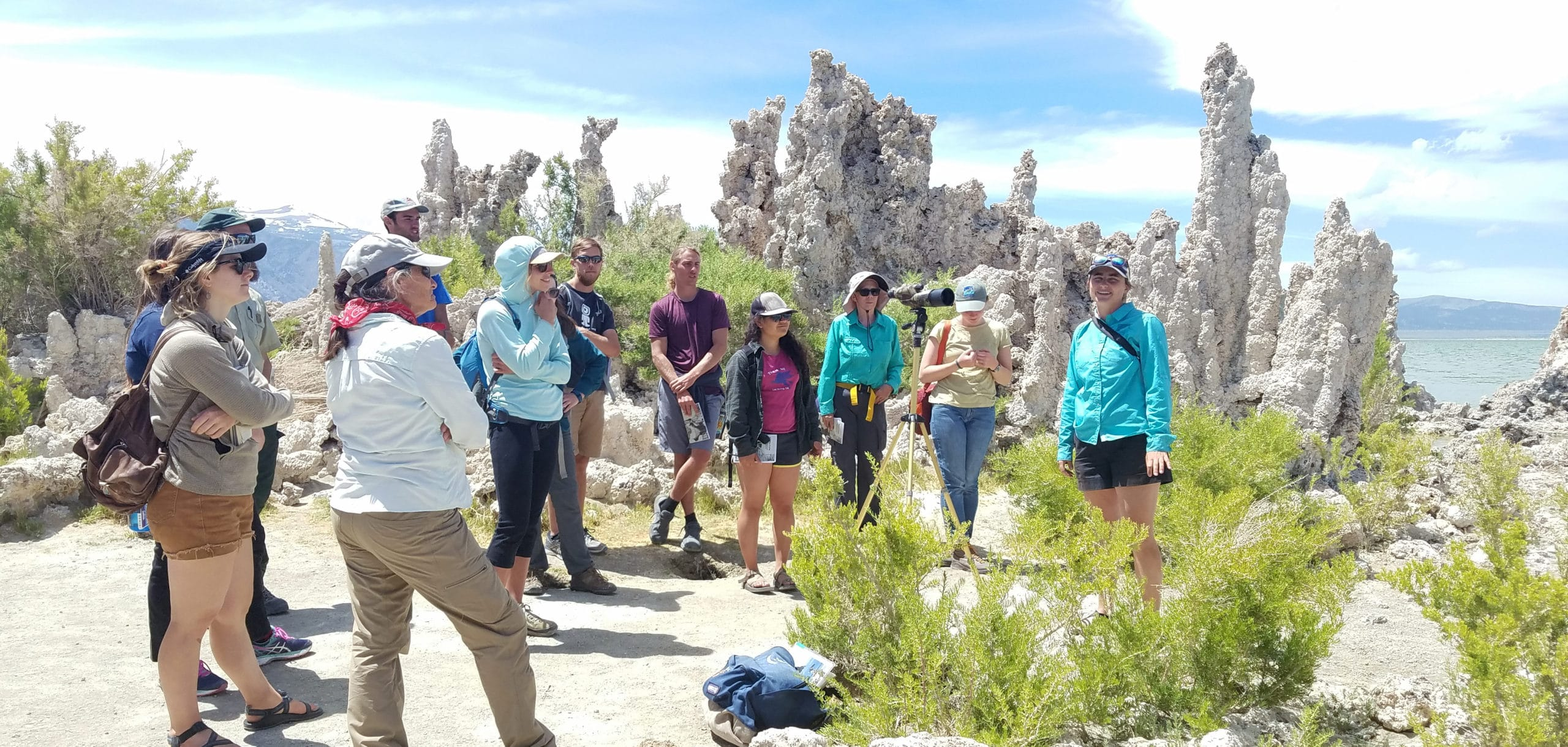 Twelve people are standing in a grove of an unusual landscape with tufa towers behind them and they are listening intently to a guide and it is a bright sunny day.