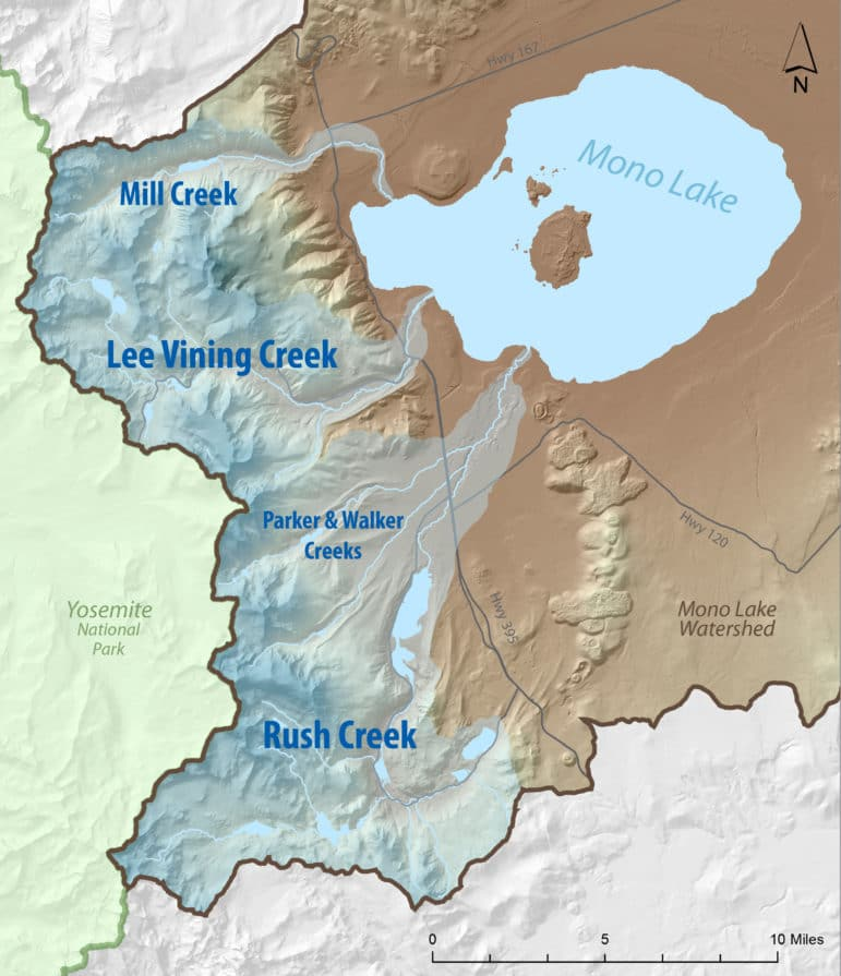A simple watershed map showing Mill Creek, Lee Vining Creek, Parker & Walker Creeks, and Rush Creek -- the tributaries to Mono Lake, with Yosemite National Park for reference.