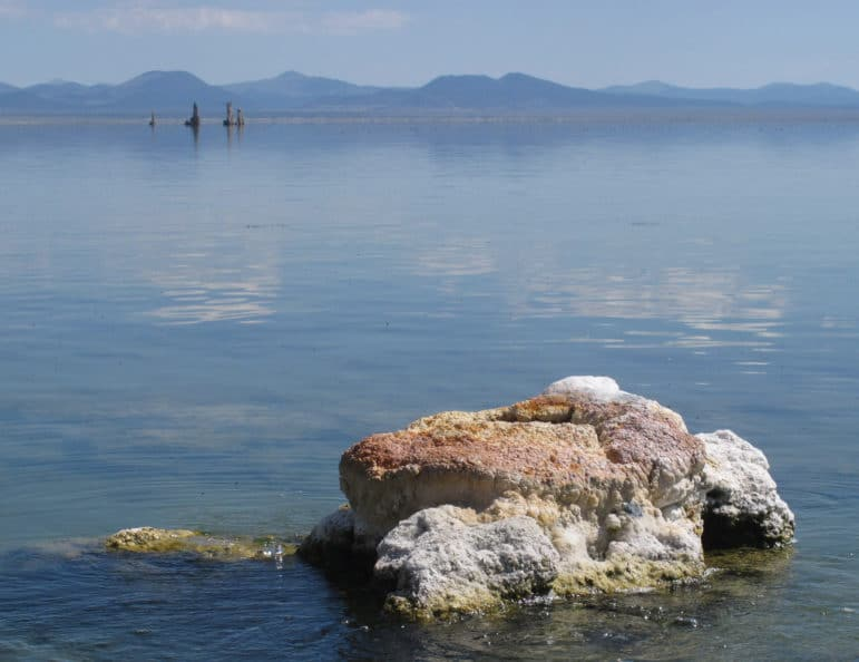 Partially submerged rock with freshwater bubbling up around the edges, and a glassy lake with tufa towers and hills in the background.