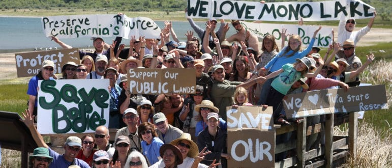 About 60 people holding handmade signs supporting Mono Lake and the Mono Lake Tufa State Reserve cheering and waving and showing a lot of spirit and joy while standing on the small platform at County Park overlooking Mono Lake.