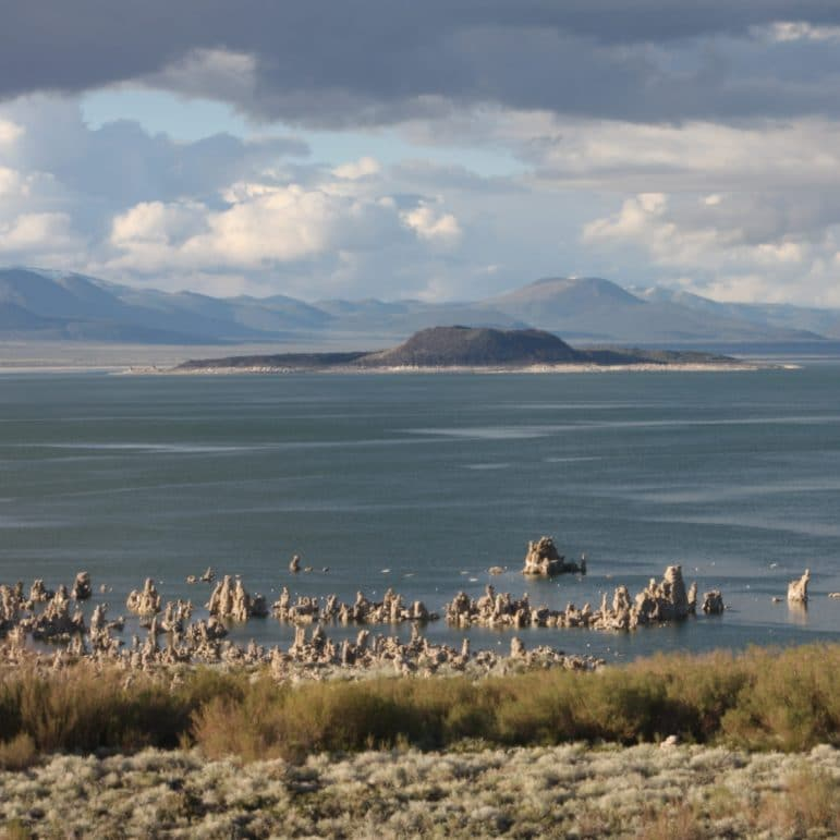 Black volcanic Negit Island in Mono Lake with tufa towers in Mono Lake in the foreground and hills in the background in muted hues of blue and grey with puffy clouds in the sky.