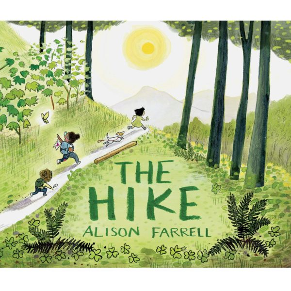 Illustrated book cover with kids running on a trail with a dog.