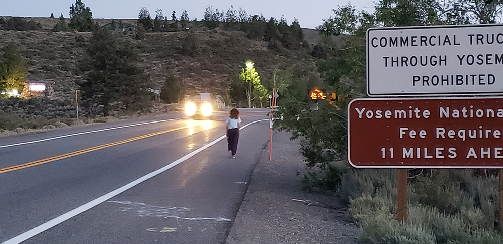 A person walks away from the camera along the shoulder of the highway, with no barrier separating her from the oncoming cars. Headlights flash in the distance and road signs are in the periphery.