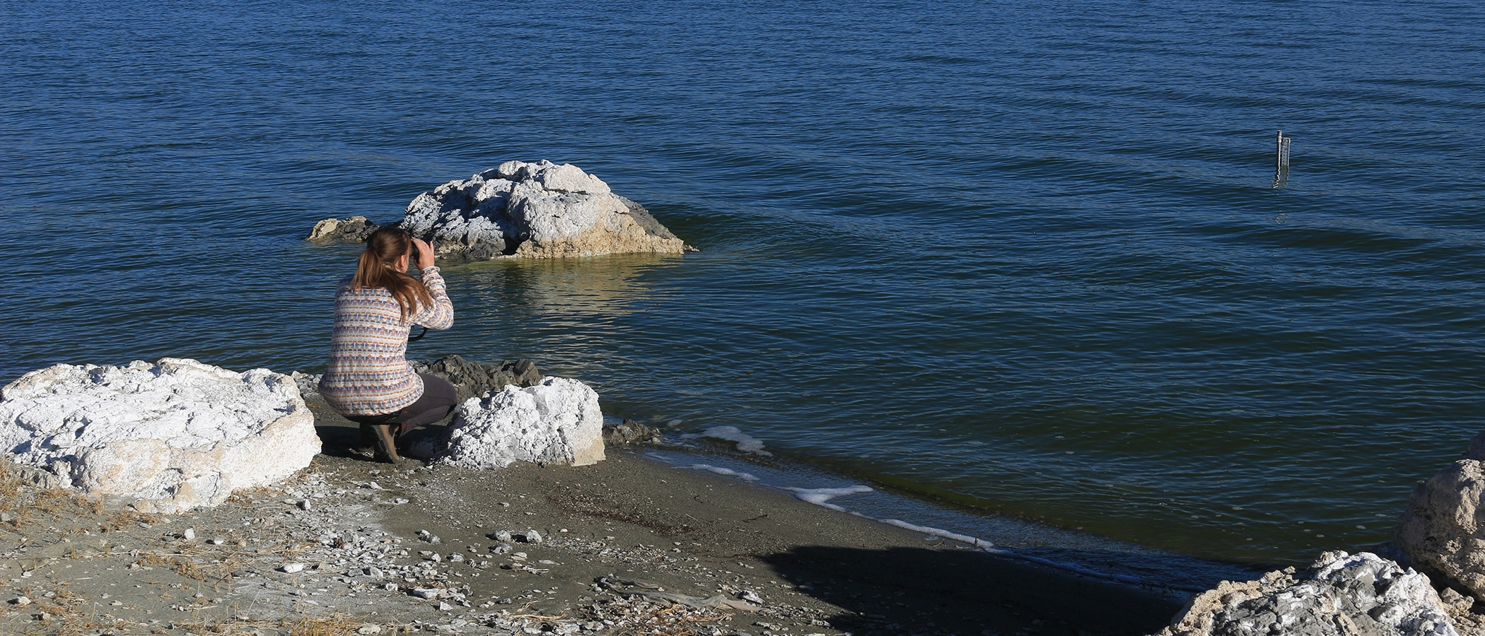 A woman crouches on white tufa on the edge of the blue Mono Lake water and looks through binoculars at a water level gage sticking out of the water.