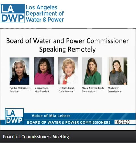 A screenshot from the Board of Commissioners Meeting shows profile headshots of five women speakers: Cynthia Mclain-Hill, Susana Reyes, Jill Banks Barad, Nicole Neeman Brady, and Mia Leher.