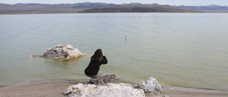 A woman crouches at the gray blue edge of Mono Lake and looks out towards the large black rock outcropping on the opposite shore.