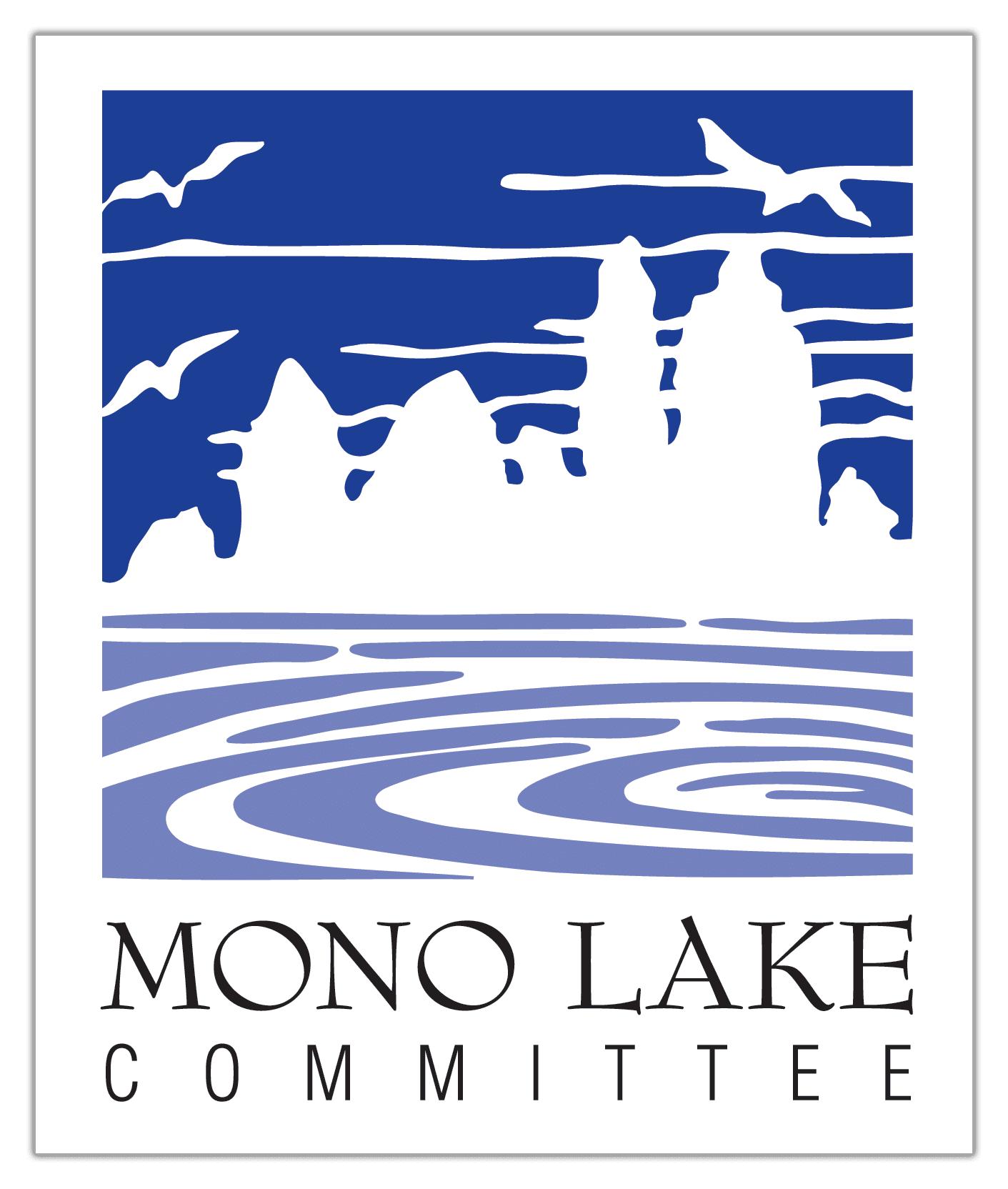 MLC logo shows a dark blue sky and lighter blue water with white silhouetted tufa towers.