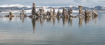 Snowy tufa towers jut out from the rippling green lake water with the snowy Sierra Nevada mountain range behind them.