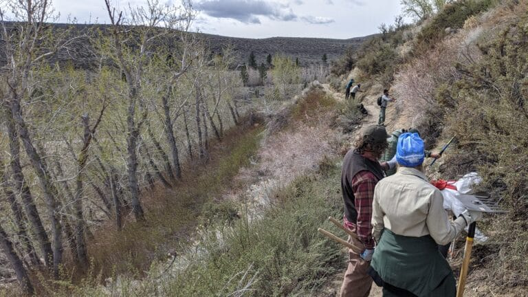 Two trail workers converse on a thin dirt trail between sagebrush. Other workers can be see down the trail.