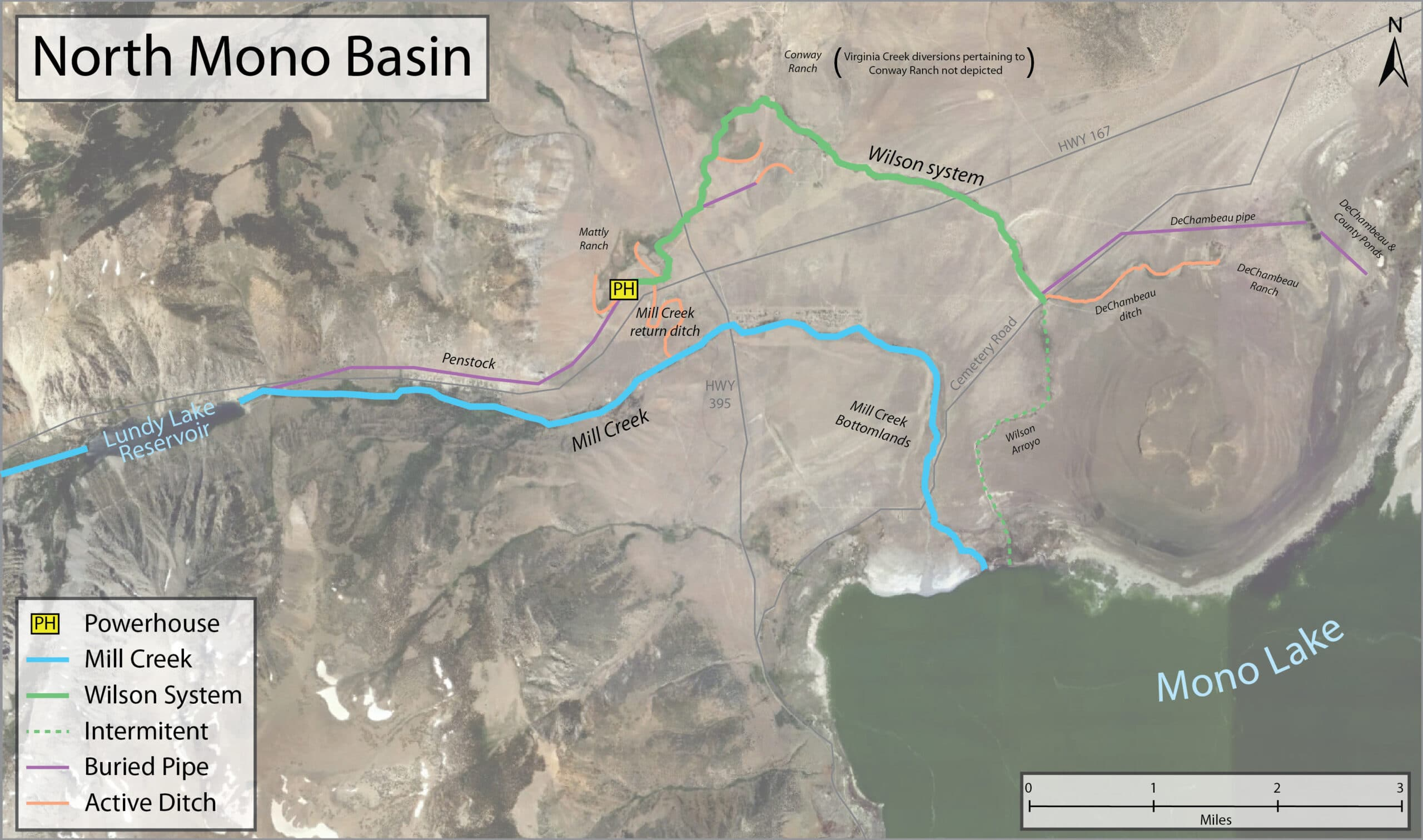Map of the North Mono Basin with Mono Lake in the bottom right corner and Mill Creek, the Wilson System, buried pipe, active ditches, and intermittent streams marked on an aerial photograph map.