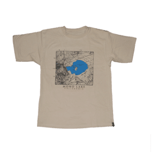 A beige t-shirt with a topographic black and blue map, and text that reads: Mono Lake California.